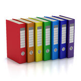 Colorful File Folders. Seven Colorful File Folders. Isolated on white Stock Photo
