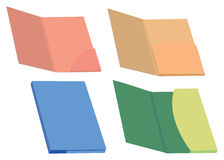 Colorful File Folders Vector Illustration. Set of four colorful blank file folder and presentation folders vector illustration isolated on white background Stock Photos