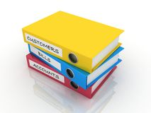 Colorful files. 3d colorful files for an accountant Stock Photos