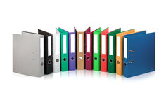 Colorful files. Various colorful files against white background Stock Photos