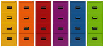 Colorful Filing cabinet. Isolated on white - rendering Royalty Free Stock Photography