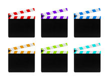 Colorful film clapperboards isolated on white background. Six colorful film clapperboards isolated on white background Royalty Free Stock Photography