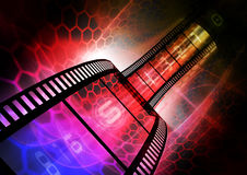 Colorful film strip. Abstract colorful photographic background with a wavy film strip Stock Photos