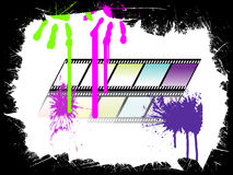 Colorful film stripe. Illustration of filmstripes and hand prints on a grunge background Royalty Free Stock Image