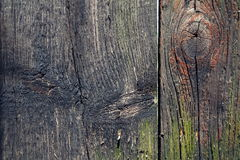 Colorful filtered old knotty wood texture background. With hole Stock Image