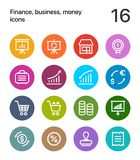Colorful Finance, business, money icons for web and mobile design pack 4. 16 line colorful vector icons Royalty Free Stock Images
