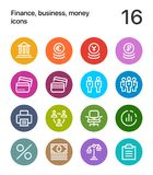 Colorful Finance, business, money icons for web and mobile design pack 3. 16 line colorful vector icons Stock Photo