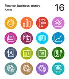 Colorful Finance, business, money icons for web and mobile design pack 2. 16 outline flat vector icons Royalty Free Stock Photos