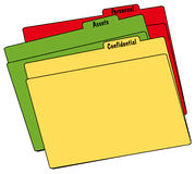 Colorful fine folders. Colored file folders with confidential, personnel and assets - vector Stock Photography