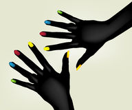 Colorful fingernails. Illustration of colorful painted fingernails on pair of black hands, isolated on light background Stock Photo