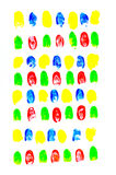 Colorful of fingerprints on white background Royalty Free Stock Image