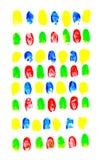 Colorful of fingerprints on white background. The fingerprints is on white background Royalty Free Stock Image