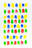 Colorful of fingerprints on white background Stock Photos