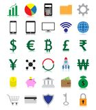 Colorful Fintech Flat Icons With Reflection Royalty Free Stock Photos