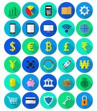 Colorful Fintech Flat Icons On White Background. Vector Easy-To-Use 30 Colorful Fintech Flat Icons Including Multiple Currencies On White Background Involving In Royalty Free Stock Photography