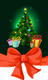 Colorful fir xmas tree and gift - vector Stock Photos