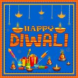 Colorful fire cracker with decorated diya for Happy Diwali festival holiday celebration of India greeting background. Vector illustration of colorful fire Stock Image