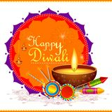 Colorful fire cracker with decorated diya for Happy Diwali festival. Vector illustration of colorful fire cracker with decorated diya for Happy Diwali festival Stock Photography