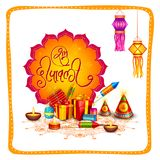 Colorful fire cracker for Happy Diwali festival holiday celebration of India greeting background. Vector illustration of colorful fire cracker for Happy Diwali Stock Photos