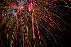 Colorful Fire Crackers on a dark night marking the Indian festival of Diwali stock photo