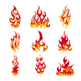 Colorful Fire Flames Set. Of different shapes in cartoon style isolated vector illustration Stock Photography