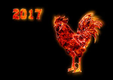 Colorful Fire rooster. symbol of the Chinese New Year. Fire bird, red cock. Happy New Year 2017 card.  Royalty Free Stock Photography