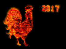Colorful Fire rooster. symbol of the Chinese New Year. Fire bird, red cock. Happy New Year 2017 card Royalty Free Stock Photo