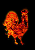 Colorful Fire rooster. symbol of the Chinese New Year. Fire bird, red cock. Happy New Year 2017 card Stock Photos