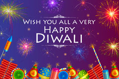 Colorful firecracker with firework background for Happy Diwali holiday of India. Vector illustration of colorful firecracker with firework background for Happy Royalty Free Stock Image