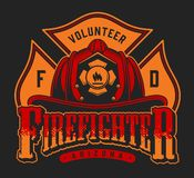 Colorful firefighter logotype vector illustration