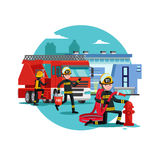 Colorful Firefighting Template. With fireman rescue brigade fire truck and equipment vector illustration Stock Photography