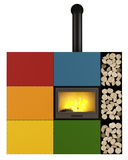 Colorful Fireplace on white. Contemporary fireplace with colorful panel  on white - 3D Rendering Royalty Free Stock Images