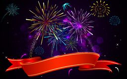 Colorful Firework. Illustration of colorful firework banner on abstract background Stock Photos