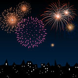 Colorful Firework. Illustration of a Colorful Firework above the City Royalty Free Stock Images