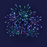 Colorful firework background. Illustration of colorful fireworks on blue background Stock Photography