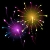Colorful firework background. Vector illustration. Royalty Free Stock Photography