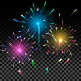 Colorful firework background. Vector illustration. Royalty Free Stock Photo