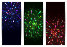 Colorful firework banners. Illustration of colorful festive firework banner collection Stock Photos