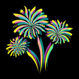 Colorful firework. Beautiful colorful abstract firework on black background Stock Photo