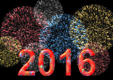 Colorful 2016 with firework. On black in the background in a landscape format stock illustration