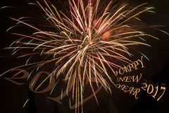 Colorful firework on the black sky background, Happy new year, 2017 Royalty Free Stock Photography