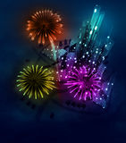 Colorful firework celebration above modern city Stock Images