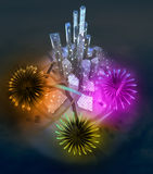 Colorful firework celebration above modern cityscape. Illustration Royalty Free Stock Photos