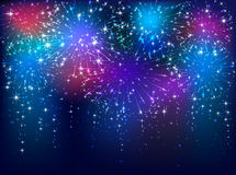 Colorful firework on dark background. Colorful starry fireworks on dark sky background, illustration Royalty Free Stock Images