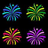 Colorful firework design elements. Isolated on black Stock Images