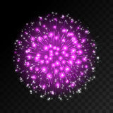 Colorful firework explosion on transparent background. Stock Images