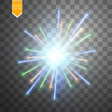 Colorful firework explosion on transparent background. White, gold and yellow lights. New Year, birthday and holiday. Celebration firework on black. Abstract Stock Images