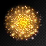 Colorful firework explosion on transparent background. White, gold and yellow lights. New Year, birthday and holiday celebration firework on black. Abstract Royalty Free Stock Photo