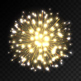 Colorful firework explosion on transparent background. White, gold and yellow lights. New Year, birthday and holiday celebration firework on black. Abstract Royalty Free Stock Photos