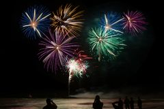 Colorful firework explosions stock photo